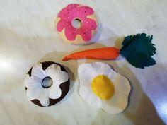 donuts de fieltro, verduras de fietro