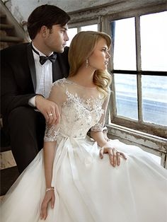 BallGown Scoop Tulle Satin Sweep Train Ivory Appliques Wedding Dresses at Msdressy