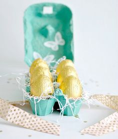 Icing Designs: DIY colored egg crate for egg chocolates.