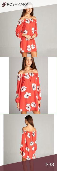 Coral Orange Floral Dress 100% Polyester. No trades. Dresses