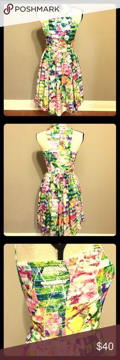 "Amanda U Colorful Floral Dress NWOT Gorgeous Amanda U Colorful Floral Dress.  35.5"" from shoulder to hem. Amanda Uprichard Dresses Mini"