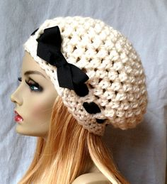 Crochet Slouchy Beret Womens Hat Off White and by JadeExpressions