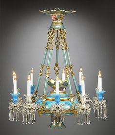 Antique French Chandelier, Baccarat Crystal and Opaline Chandelier