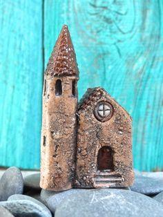 Miniature Medieval church OOAK ceramic mini by theCherryHeart