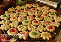 Spritz cookies: Wonderful for the holidays... They are so fun to make and taste delicious!