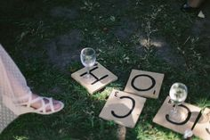 GEELONG backyard wedding DYI scrabble tiles