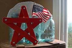 star made from wooden rulers and painted. #4th