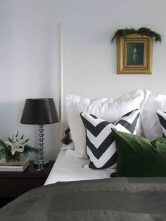 this chevron pillow, and the green one too