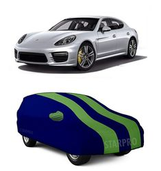 Vehicle Compatibility For-Porsche Panamera  ✔Made with 190T Water-Resistant polyester fabric with dual color combinations.  ✔Mirror pockets slots,Belt and Buckle for peoper hold on during heavy winds and front/back bumper bottom elastic for proper grip.  ✔Enhanced protection for body from Dust particles,protects paint colour fading from sun UV rays,bird droppings,Scratches etc.  ✔It is Lite weighted,easy to fold,store and easy to carry also. Car Body Cover, Porsche Panamera, Car Covers, Green Stripes, Car Ins, Color Combinations, Sun, Pockets, Belt