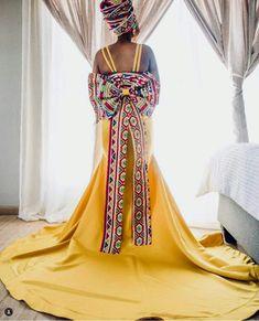 Ndebele Wedding Dress. #NDEBELEBRIDE #SouthAfricanWeddingDress South African Wedding Dress, African Wedding Attire, South African Weddings, African Wear Dresses, Latest African Fashion Dresses, African Clothes, Igbo Wedding, Wedding Gowns, African Traditional Wear