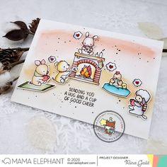 mama elephant   design blog: INTRODUCING: Toasty Friends Sending You A Hug, Mama Elephant Stamps, Friends Set, Elephant Design, Good Cheer, Clear Stamps, Blue Bird, Christmas Cards, Card Making