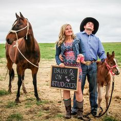 Western gender reveal photo by Wicked West Designs. Yay! She's having a girl! (Colfax and Money are so cute with them)
