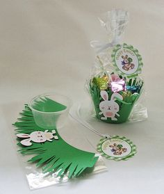 Easter goodie bags. I would use orange ribbon instead of white.