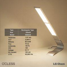 Reduce fatigue on your eyes by O'CLESS illumination with no glare and no blue light, LG chem OLED panels www.lgoledlight.com #LGChem #OLED #light #lamp #illumination #tablelamp