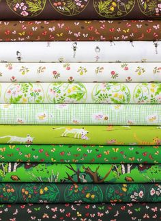 Heather Ross for Windham, Tiger Lily, Forest in FAT QUARTERS 11 Total