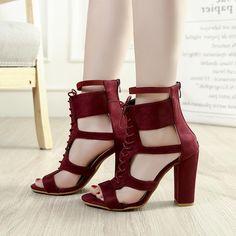 5d08d156592 Zipper Chunky Heel Open Toe Women Plain Casual Sandals