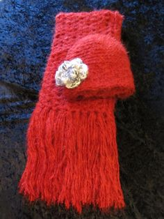 Red Elegant Scarf and Hat Set by clriegs on Etsy, $50.00