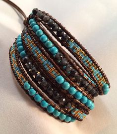 Natural Gemstone and Seed Bead Wrap Bracelet on Etsy, $70.00