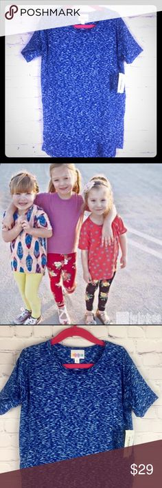LuLaRoe Gracie high-Lo tee heathered royal blue 6 Heathered royal blue with white...The unisex LuLaRoe Gracie top, with its high-low hemline, makes it the perfect kids top to pair with anything, but it's especially great with leggings! It's loose fitting short sleeves will keep even the most active kid comfortable & cool. Easy to layer & versatile enough to dress up or down, the Gracie is sure to become a staple in your kids' closets. LuLaRoe Shirts & Tops Tees - Short Sleeve