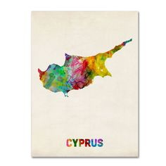 Michael Tompsett 'Cyprus Watercolor Map' Art