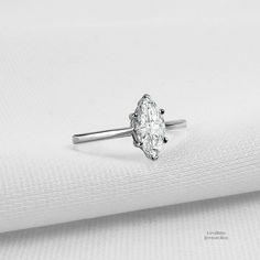 574bf2c02 0.95 ct. Marquise Solitaire 925 Sterling Silver Cubic Zirconia Engagement  Ring - CZ, Moissanite · Lotus Engagement RingRound Diamond ...