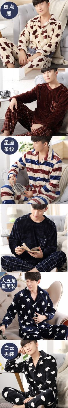 Coral Fleece Men Pajamas Flannel Sleepwear Set Man Plus Size Pajamas Homewear Warm Nighties Plaid Stripped Men Sleep Lounge 270