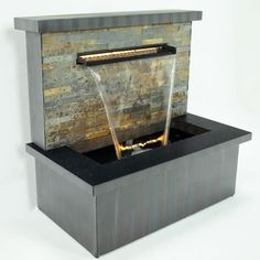 Zinc and Stone Sorrento Trough Blade Cascade Water Feature with Lights by Ambienté™ Stone Water Features, Indoor Water Features, Small Water Features, Water Features In The Garden, Sorrento, Small Fountains, Water Fountains, Garden Fountains, Water Wall Fountain