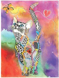 Felino  Gato  Rainbow  Ilustração  Mundo Animal - Can i put a wall decal on canvas