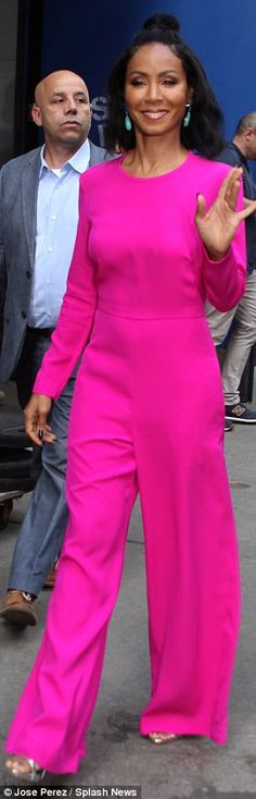 Pretty in pink: The sported a neon pink jumpsuit, with silver sandals and turq. Pageant Wear, Jada Pinkett Smith, Pretty In Pink, Pretty Girls, Pink Jumpsuit, City Style, Red Carpet Fashion, Nice Dresses, Pink Ladies