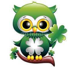 ❀ Baby Owl St Patrick Cartoon - #Gufo #Cucciolo