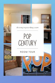 Pop Century room tour of a standard room - Want to see what the inside of a room at Pop Century in Disney World is like? Here's a look at the overall layout, the beds, storage areas, sink, bathroom, decor, and more - in both photo tour and video tour!