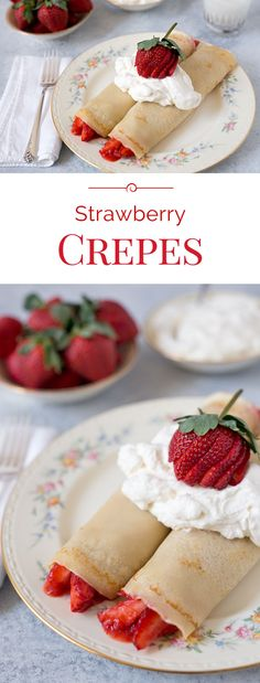 Crepes are thin little French pancakes that are actually easy to make. My family is crazy about Strawberry Crepes filled with strawberries and topped with fresh, lightly sweetened whipped cream.