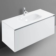 Domino White Single Vanity With One Drawer