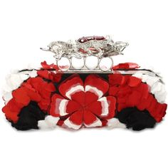 Alexander McQueen Salamander Embroidery Long Knuckle Box Clutch featuring polyvore, fashion, bags, handbags, clutches, black, black clutches, black purse, embroidered handbags, hard clutch and alexander mcqueen clutches