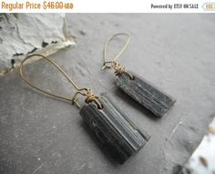 SALE Natural Olive green dusted & Matte black Epidote Crystal Dangle earrings. Rough Raw Uncut stone towers. rustic brass ear wires