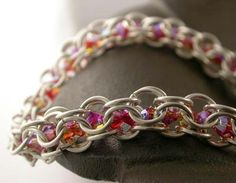 TUTORIAL - Crystal Chain Maille Bracelet. $5.00, via Etsy.