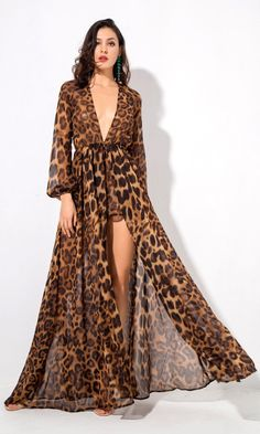 Come With Me Brown Leopard Pattern Long Sleeve Plunge V Neck Split Front Casual Romper Maxi Dress - Maxi Dresses Backless Maxi Dresses, White Maxi Dresses, Chiffon Dress, Dresses Dresses, Dresses Online, Leopard Print Outfits, Leopard Dress, Short Beach Dresses, Animal Print Dresses