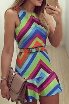Love these Colors! Colorful Zig Zag Sleeveless Dress #Colorful #Zig_Zag #Ruffle #Dress #Fashion #Outfit #Ideas