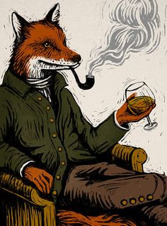 Fox Wins ~ Joanna Lisowiec ~ This is what I imagine foxes do at the end of the day when they've evaded all the hounds. Wood Badge, Fox Drawing, Vintage Fox, Raven Art, Fox Illustration, Fox Print, The Fox And The Hound, Arte Horror, Easy Drawings