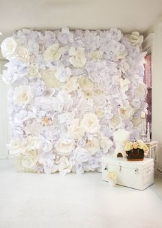 DIY white paper flower backdrop for wedding ceremony