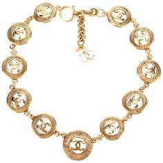 CHANEL VINTAGE logo link necklace ($1,090) ❤ liked on Polyvore
