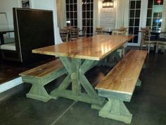 """A table we made for Acre Restaurant in Auburn, AL. We used reclaimed heart pine framing material for the base (green is reflecting off the floor, it's a dark brown) and made the top out of 1 piece of 2"""" thick oak"""
