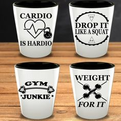 Gym Gift Fitness Addict Funny Shot Glasses for Him Trainer Workout Cardio Weightlifters Weightlifting Bodybuilding Birthday Brother Sis Funny Mugs, Funny Gifts, Funny Shot Glasses, Brother And Sis, Days Before Christmas, Gym Junkie, Presents For Her, Glass Material, Gym Humor