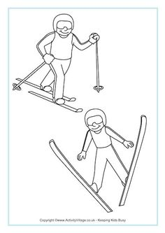 Nordic Combined Colouring Page: Winter Olympic Crafts for Kids. Olympic Colors, Olympic Idea, Olympic Sports, Olympic Games, Nordic Combined, Olympic Crafts, Art Handouts, Freestyle Skiing, Ski Jumping