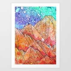 Paint Splatter Mountains Art Print by  Steve Wade ( Swade) | Society6