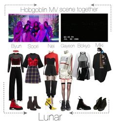 """Lunar 음력 Debut 'Hobgoblin' MV"" by lunar-official ❤ liked on Polyvore featuring Boohoo, Marques'Almeida, Off-White, Bordelle, Lip Service, Tommy Hilfiger, Puma, Dsquared2, Markus Lupfer and Forever 21"