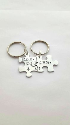 10 Year Anniversary Gift Puzzle Piece Keychains Keychain For Him His Hers Personalized Couples