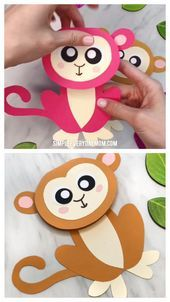 Cute Monkey Craft For Kids (With Free Printable Template) - Origami Bastelanleitungen - Easy Monkey Card Craft For Kids Paper Crafts For Kids, Projects For Kids, Diy For Kids, Fun Crafts, Arts And Crafts, Craft Kids, Craft Art, Art Projects, Wood Crafts