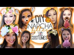 DIY: Snapchat Filter Costumes! - YouTube Snapchat Halloween Costume, Snapchat Costume, Halloween Costume Videos, Snapchat Makeup, Halloween Town, Halloween Make Up, Snapchat Filter Costumes, Halloween Ideas, Costume Ideas
