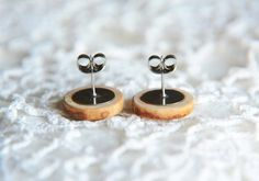 Minimalist wooden earrings natural wooden jewelry by MyPieceOfWood, $14.00